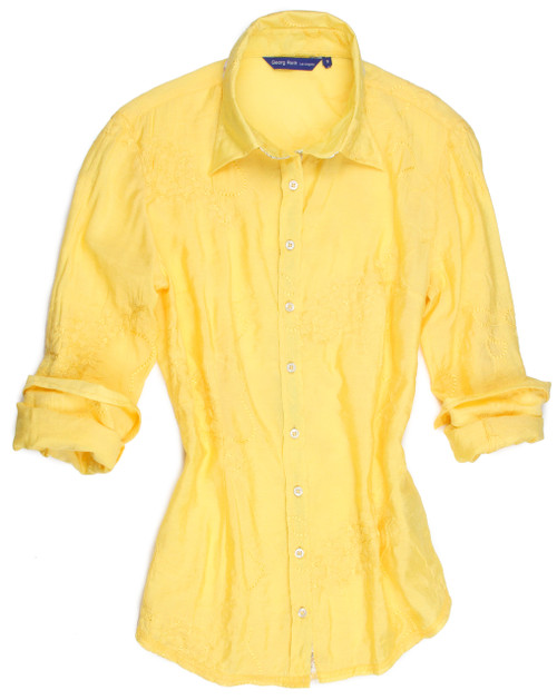 Yellow on yellow.......this beautifully embroidered fabric has a soft sequin trim under the collar stand inside placket.  You will love the versatility of this blouse!  Dress it up or dress it down, wear it with any color jeans or pants.  It is elegant in every way. 75% Vis / 25% Nylon