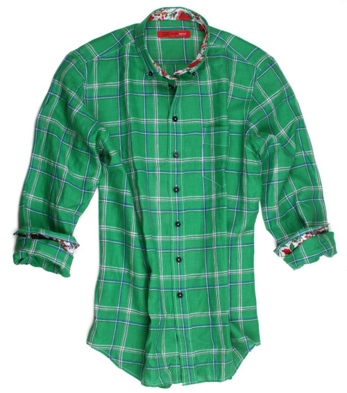 GREEN & BLUE LINEN PLAID CONTEMPORARY SMALL BUTTON DOWN COLLAR WITH 1 BREAST POCKET Multi color coordinating cotton fabric inside the cuffs with a piping trim on the inside placket and inner collar stand LINEN & COTTON Long Sleeves Men's Shirt