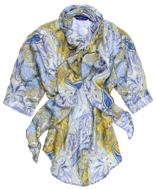 "Be the ""life of the party"" and the ""center of attention"" in our ultra flattering Yellow and Blue print.  This dramatic shirt is embellished with a matching soft flowing scarf to add that touch of originality that Georg Roth shirts are known for.  The scarf is completely detachable making it a bit more casual.  The short sleeves are great too especially for those hot sultry nights coming up.  Any Jean in your closet will be perfect .  Day or evening, most any occasion, you will feel your very finest and well dressed. Slightly Shaped  3/4 Sleeve length hitting right above the elbow Mandarin collar with detachable scarf 100% Viscose"