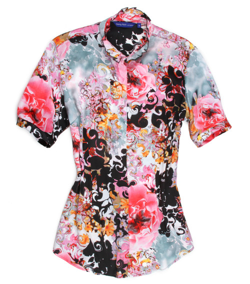 """Summer is almost here!  This is a light weight short sleeve with a banded collar embellished with a ruffled trim.  A dramatic floral print with colors of pinks, yellows, black, blue grey and a touch of white.  This is a great """"go to"""" blouse to take you anywhere day or night....dress it up or dress it down you will love it. 100 European Poly Slightly shaped at the waist Short sleeve is banded just below the muscle"""