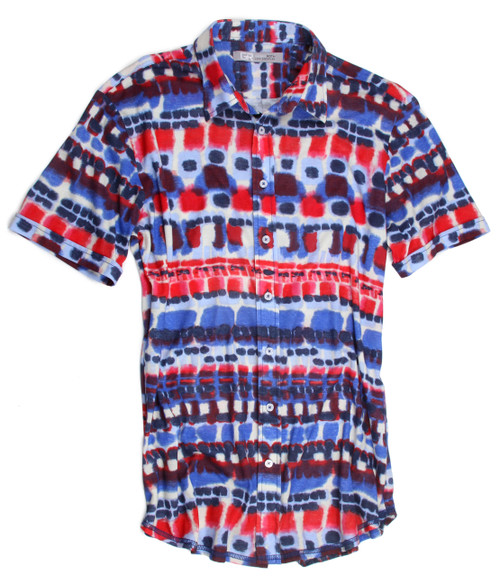 With the up-coming summer holidays this is the perfect shirt. Be cool, stylish and patriotic in this handsome print of red, white and blue.  It is 100% light weight cotton knit for that comfortable, casual look that can take you anywhere.  The short sleeves are perfect for summer.  Yours to enjoy!