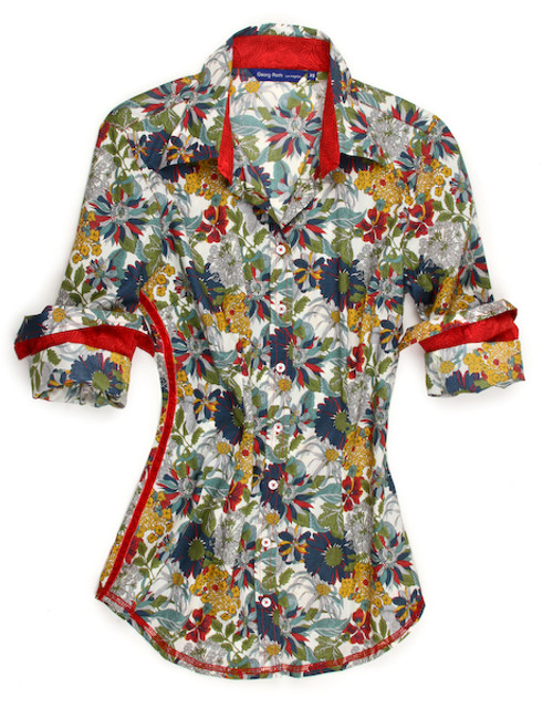 Freshen up your wardrobe with this breathtaking Liberty of London Mona blouse. The multicolor floral print is detailed with a red tone-on-tone contrast inside the collar and cuffs. Finishing touches of a red crushed velvet ribbon down right side. All seams are done to perfection with contrast stitching in red.