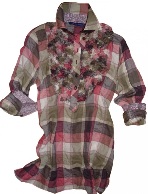 Shades of magenta, olive and beige plaid tunic with ruffle front.
