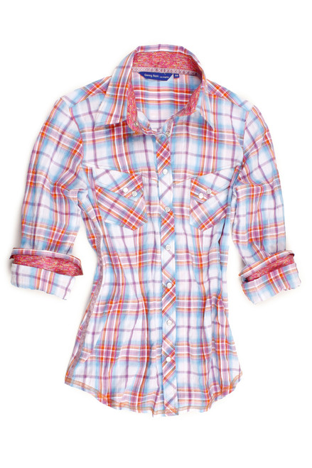 """Compliment your wardrobe with this beautiful 100% cotton with a """"western"""" flare.  This great look is a gentle plaid of Blues, Lavender,Red with a bit of yellow on a white background.  The inner collar and roll up sleeves of a companion print add a most attractive touch.  That's not all.......underneath the collar is a dotted pattern of yellow and orange and the buttons on the front placket and the snap down pockets are a lovely mother of pearl.  Stylish and fun this shirt will be a favorite!"""