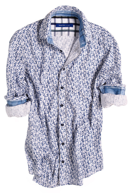 Easy comfort and casual style meet in this cotton print of navy & light blue anchors. This dynamic long sleeve shirt is contrasted with a blue plaid inside the collar stand and cuffs. Detailed with a big blue & brown plaid inside saddle and on the outer collar stand. Trimmed with navy & white rope piping on front placket.
