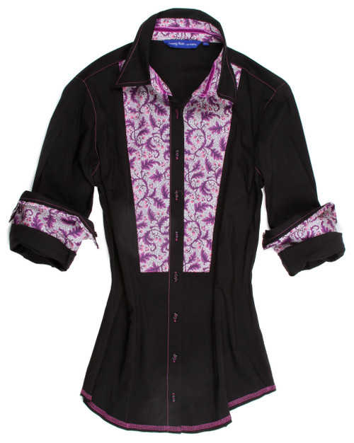 This super soft black long sleeve stretch blouse is detailed with a fun Liberty of London floral contrast inside the collar stand, cuffs & on bib. All seams are finished with contrast stitching.