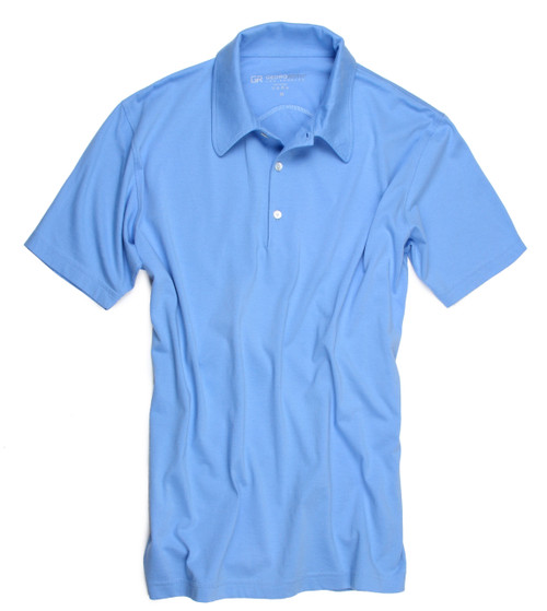The World's Greatest Polo-Shirt Sky Blue Made of natural materials Our guarantee: 100% Supercombined Pima Cotton / Organic Wash UP TO 60 DEGREES Celcius  Zero percent shrinkage, dryer proof Maximum maturity of elasticity & shape Ecological dyes of supreme quality & free of chemicals