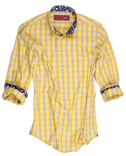 """For those that appreciate the highest grade fabric and quality, our Aruba will """"wow"""" you. Rich and soft yellow and blue plaid with a hint of Orange stripe. Contrast blue & white fabric in the collar and cuffs with a coordinating discrete mini dot fabric under the collar stand and piping trim inside the front placket. Our Red City label is perfect to dress up under a jacket or worn alone with the Georg Roth roll of the sleeves. 100 Cotton 2 Button collar stand Button down collar"""