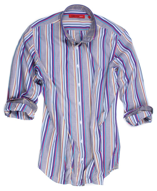 Our Madrid double-buttoned striped stunner is the perfect addition to take your business or pleasure attire to the next level! Bold, colorful stripes contrasted with a cool gray background make for a highly versatile shirt that transitions easily from day into evening. Black and yellow plaid contrast inside the collar stand and cuffs add to the vibrancy and dimension of this incredible shirt. Made with the highest quality imported European fabric.  100% Cotton  Slightly tapered, comfortable fit  Machine or hand wash cold. Hang to dry, light iron. Dry Clean.