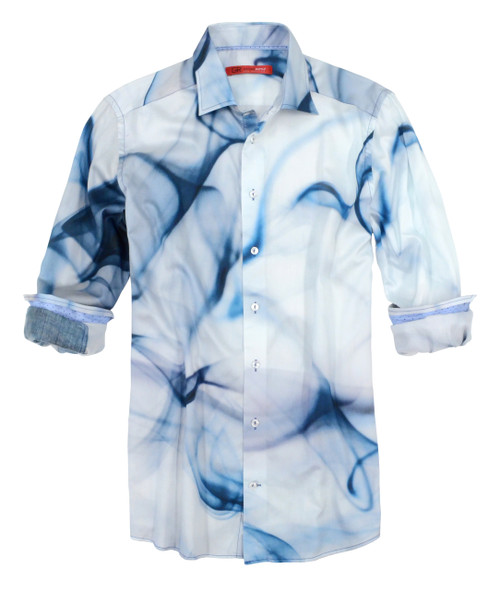 For the love of art, Georg Roth has created this brilliant smoke print on a super luxe cotton. The blue tones are unique in color, and ever so rich. Dress it up or wear casually with denims, you will be noticed for your own unique individuality. Inside the collar stand and inner cuffs are a subtle blue dot pattern adding to the richness of this spectacular shirt.  Red Label - Slightly shaped  Designed to be worn tucked in with a jacket or worn out 100% Cotton Machine wash cold, hang to dry, light iron / or Dry Clean