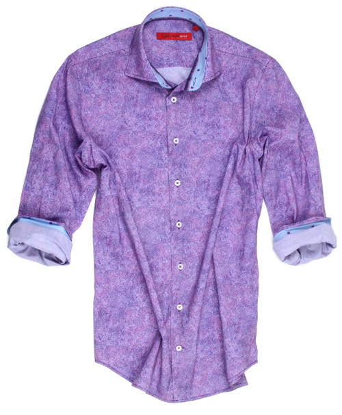 Good morning, afternoon and evening with this luscious Purple and Plum beauty.  A stand out for any occasion from breakfast, lunch or dinner.  It will go with anything ....Whether it's paired with Jeans or Pants this 100% imported European cotton will, without a doubt be a favorite for you and admired by others.  Georg Roth always embellishes his fashions making each one original.   This one has a light blue with a purple small pattern on the collar stand and if you choose to roll the sleeves the same companion print is there too.   Completing this special shirt is the zig-zag double stitching on the hem line giving it that finished look of perfection.