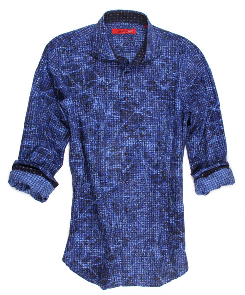 So appealing and high-style is this Blue print, 100% cotton, imported european fabric shirt. You will notice the inside collar and cuffs are designed with a small dotted print to add to the already very handsome look of this shirt.  It goes with everything from jeans to dress slacks.  Wear it proudly and be right in style.