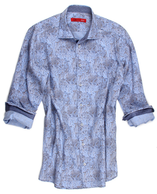 Feel great wearing this beautiful soft paisley shirt.  Light blue tones with just a splash of light brown.  The inside collar stand and cuffs, when rolled, are a blue pin dot fabric making this a very beautiful high-fashioned statement.  To add to the package, the fabric is an european imported 100% cotton.  Enjoy wearing it anywhere and everywhere!