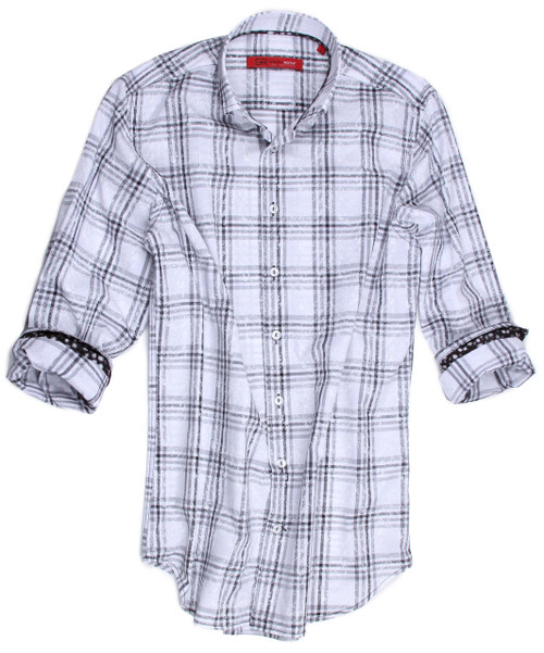 "For a night out to dinner this is definitely a classy shirt to make your evening a night to remember.  This very sharp and spiffy black and gray  plaid is 100% imported European cotton and is embellished with a black print along the inside collar and roll up sleeves.  Paying attention to detail, you will notice the piping along the placket and the button down collar for that very ""preppy"" look.  For any occasion, you will love it!"