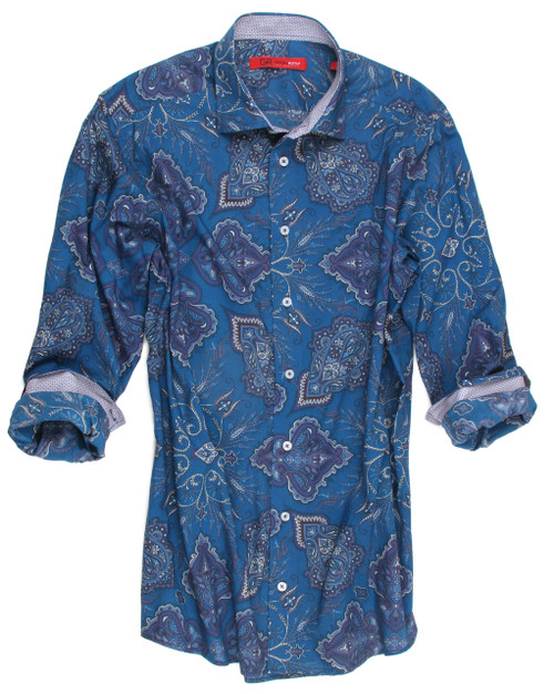 This striking Teal blue paisley is a classic with a twist. Detailed with a fine mini pattern inside the collar stand and cuffs.  100% Cotton