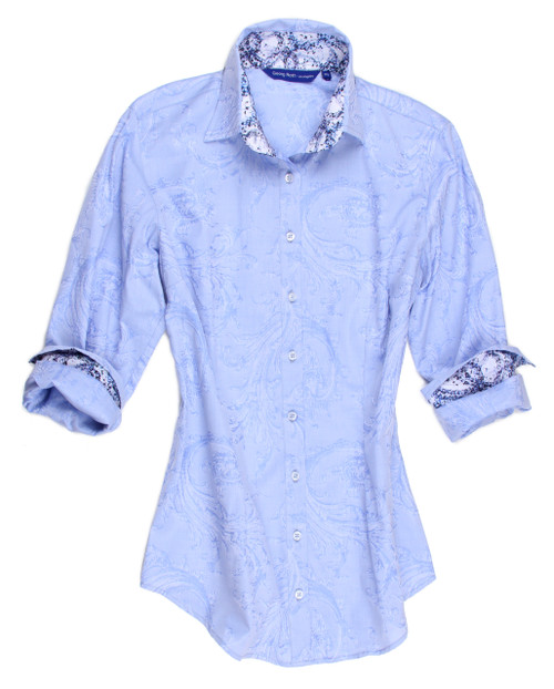 For the classic and sporty who appreciates the finest details, you will love the way you feel and look in this stunning jacquard. Trimmed with a vibrant pattern inside the collar stand and cuffs. A finishing touch of our peek a boo blue sequin trim under the collar stand is a detail you will treasure making this blouse so special and unique. 100% Cotton