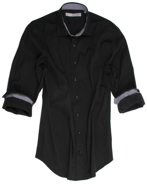 Every guy needs a good black shirt! Georg Roth super stretch is feel great with comfort and look fantastic. Jet black with a rich mini black & white houndstooth inside the collar stand and cuffs. Daytime into evening with a 2 button collar stand sits perfect with any jacket. Slightly tapered 75% Cotton 21% Polyamide 4%Elasthane