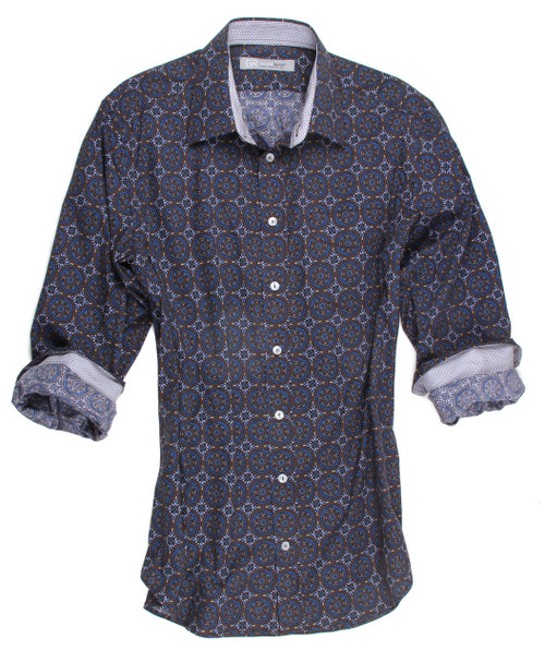 Kaleidoscope print in Blues & browns  A kick of a small button down under the collar for the finest attention to details  mini brown and blue inside collar stand cuffs and hidden button down  100% Cotton