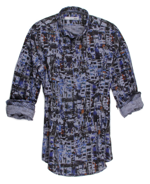 A dramatic mix of patterns on this beautiful chambray will add a touch of class to any wardrobe.  The 100% European imported fabric boasts of blue colors that will go beautifully and perfectly with so much and certainly take you anywhere from morning to night. 100% Cotton