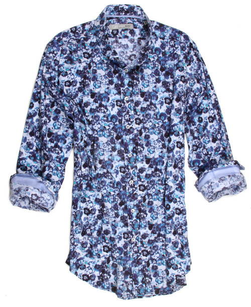 "Style, fashion, color all wrapped up in one.  You will look your very best and feel your very best in this most handsome print of blue tones on a white ground with a fantastic strech.   100% cotton imported European fabric, completely washable and exquisitely tailored to fit to perfection.  The collar is a button down and the hem line is finished off in a double zig-zag stitching.  Perfect for wearing as it is or with a Tee Shirt it is a ""must have"" for any wardrobe.  97% Cotton 3% Elasthane"
