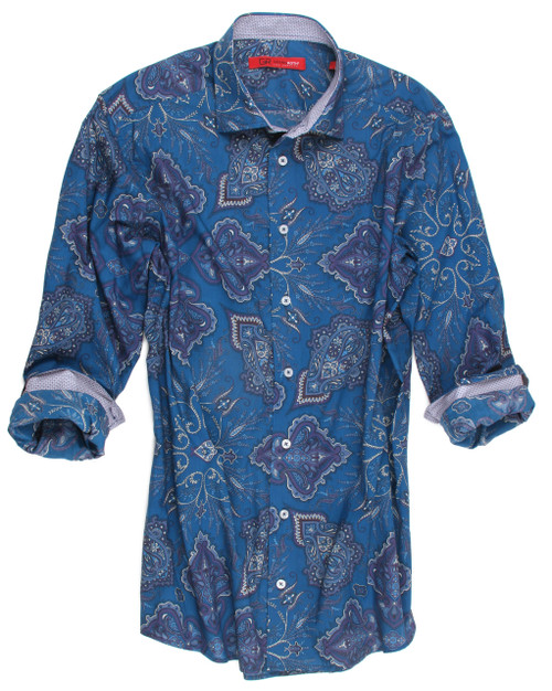 Big and Tall. This striking Teal blue paisley is a classic with a twist. Detailed with a fine mini pattern inside the collar stand and cuffs. 100% Cotton