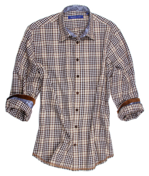 Show yourself off in this flattering and fabulous oxford 100% cotton imported European plaid.  Beautifully detailed this shirt of beige, chocolate and black is embellished lavishly.  Inside the collar stand and cuffs is a blue small print to pick up the little bit of blue in the shirt.  The cuffs also have a band of brown adding a wonderful unique embellishment to this already outstanding work of art. Lightweight super soft flanel