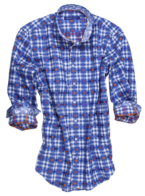 "This 100% cotton shirt will take you from daytime  to evening!   A blue plaid with a touch of orange on a white ground this will be perfect for that ""go to shirt"" when you want that handsome, clean, cool look."