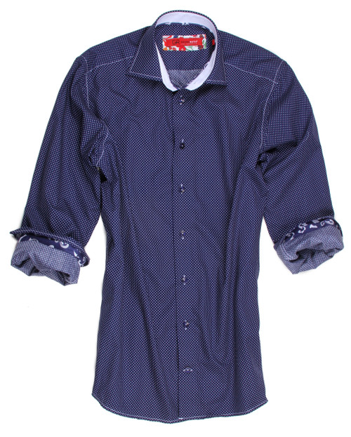 For the guy that dots his i's and crosses his t's, this handsome shirt can take you from the boardbroom to a casual funfilled weekend. This navy and white mini dot incredible cotton fabric looks fantastic  with you favorite denims and cool jacket or just with a white pant.  100% Cotton Long Sleeves Men's Shirt