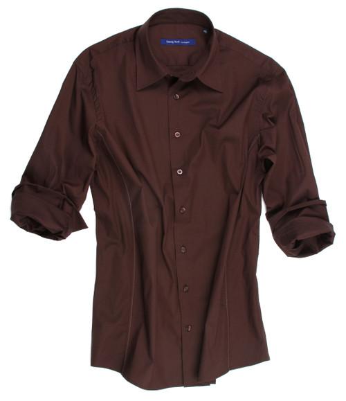97% Cotton, 3% Lycra Stretch brown Menshirt