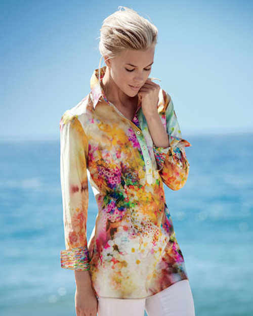 Treat yourself to some fun!  A rainbow of beautiful colors is the best way to describe this stunning tunic.  Made of the finest imported European 100% cotton.  This lovely print is embellish by a companion small print on the inside collar stand and cuffs.  It is also finished off with a double zig-zag stitching........just one of the Georg Roth finishing touches to complete the look of elegance.
