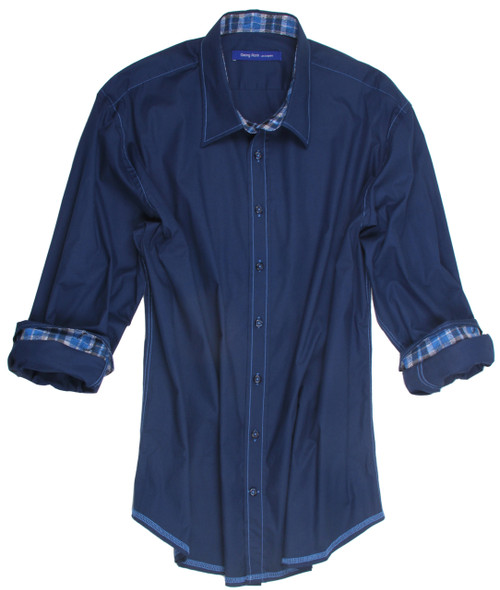 Navy Blue stretch Mens Shirt. All seams are done to perfection with contrast stitching. 97% Cotton / 3% Elastane