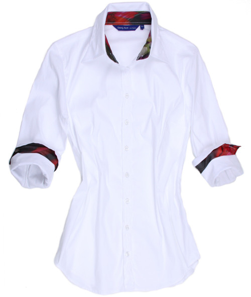 "Here it is.....""the little white shirt"" in plus sizes!   We all need a white shirt in our closets and this is a real winner.   It is our platinum lux stretch, this time in white.   The shirt is slightly fitted but this soft fabric make it very comfortable and an easy fit to wear.   The inside fabric on the collar stand and cuffs are a contrast that will make it a special look for a very special ""little white shirt""."