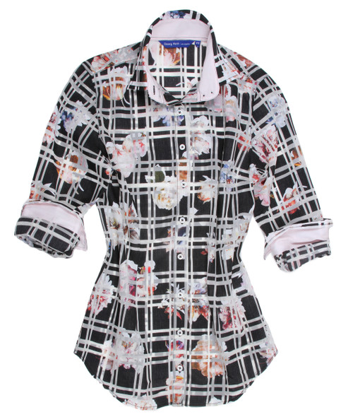Women's Feminine button down shirts is what Georg Roth stands for and  truly sets us apart. As with Greta's Garden, so sophisticated and rich in Black, White & Pinks. Slightly shaped with a beautiful discrete under the collar black & white sequin trim. Inside the collar stand and inside the cuffs is a very soft pink solid adding grace and elegance to this magnificent piece you will cherish.  Light & Airy 55% Cotton 45% Eu Poly