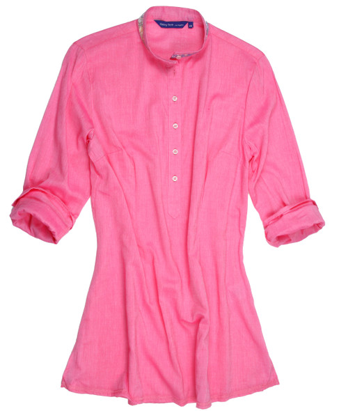 So soft and feel good stunning pink solid Tunic. Slightly more relaxed fit. Trimmed inside the collar stand, cuffs and inside placket with a multi color coordinating fabric. 100 Cotton