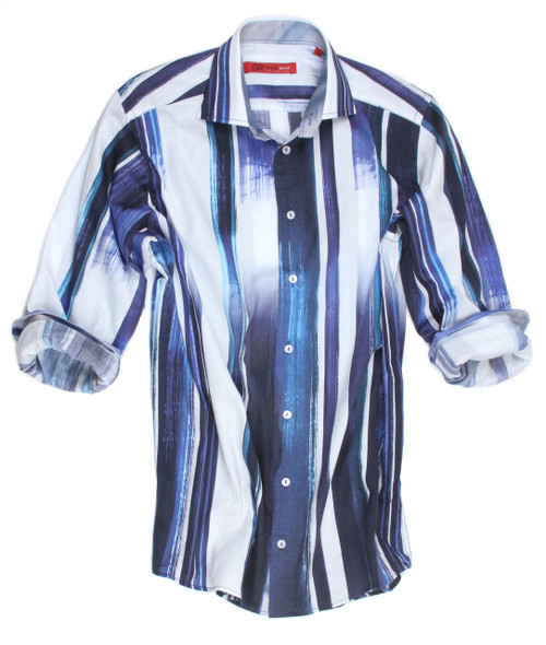 """Big & Tall Men's Shirt  Simplicity at it's finest.............for party or pleasure this very handsome shirt can take you anywhere.  Clean cut, fresh and crisp this beautiful """"water-color"""" pattern of variegated tones of Blues on a white background is nothing short of awesome.  Our finest of imported European 100% cotton is both cool and comfortable especially for those hot, sultry nights.  Georg Roth prides himself on fashion and fit and this is certainly no exception.  100% Cotton"""