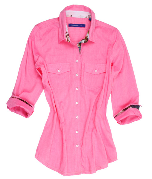 So soft and feel good stunning pink solid. Slightly more relaxed fit. Trimmed inside the collar stand, cuffs and inside placket with a multi color coordinating fabric. 2 Pockets  100 Cotton