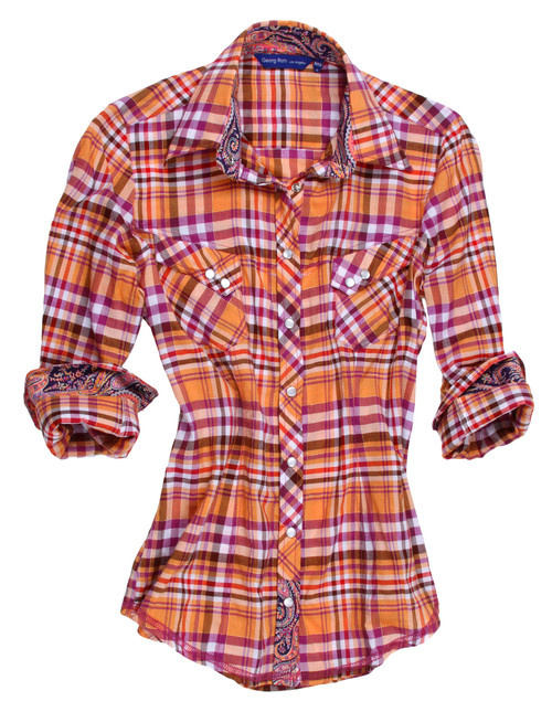 Ladies, this is a winner you will treasure. Soft and light plaid in orange & pink and brown with a gold lurex. Coordinated with a wow Liberty of London paisley inside the collar stand, front placket trim and cuffs. Finished with a peek a boo gold sequin under the collar stand.  100% Cotton