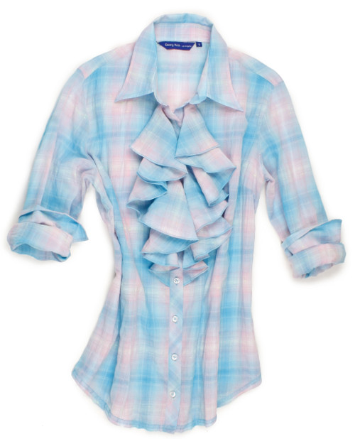 Beautiful plaid blouse with fantasy ruffles 100% Cotton