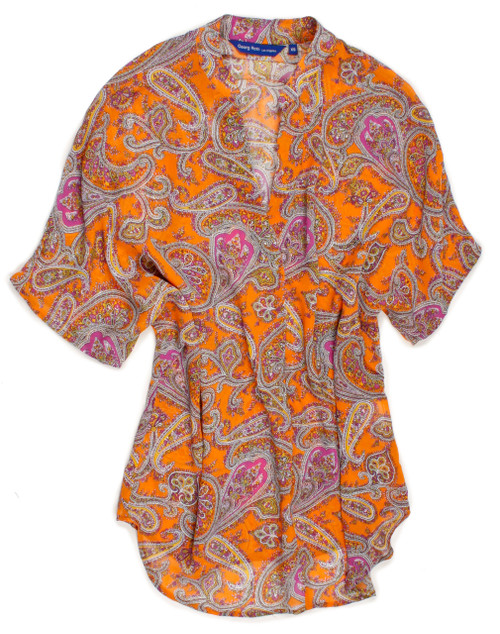 "THE blouse on every trendsetter's ""It"" list!!! Get ready for Summer and glam up your wardrobe with this stunning orange & magenta paisley pop over short sleeve blouse. Easy relaxed fit. Wear over a white cami or tank with white and feel like a million! 100 Viscose"
