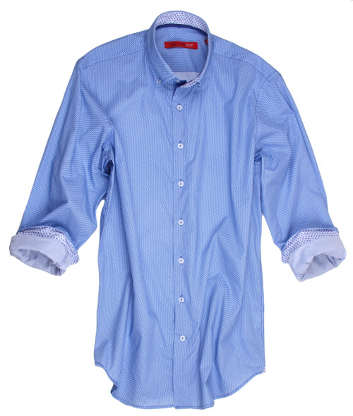 You will love the luxurious feel of our Dublin long sleeve shirt! The mini square motif print in a deep cornflower blue will flatter any skin tone, and the double button collar is perfect for dressing up your look. The satin ombre trim inside the collar adds a touch of elegance, while the mini motif contrast fabric on the inside collar, inside cuffs, and triangular insets at the side hem add a unique twist! Made with the highest quality imported European fabric.  100% Cotton Slightly tapered Machine or hand wash cold. Hang to dry, light iron. Dry Clean.