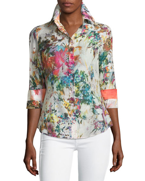 Women's Plus Sizes  It's spring and flowers are all in bloom.  You will feel so happy, carefree and beautiful wearing this lovely colorful floral.  Just about every hue of the rainbow to make it so easy to wear.  Everything goes!  The fabric is a voile cotton for cool and comfort and the collar stand and roll up cuffs are in a contrast to make this blouse a stunning example of the detail we pride ourselves with. 76 Cotton / 24 Silk Women Blouse