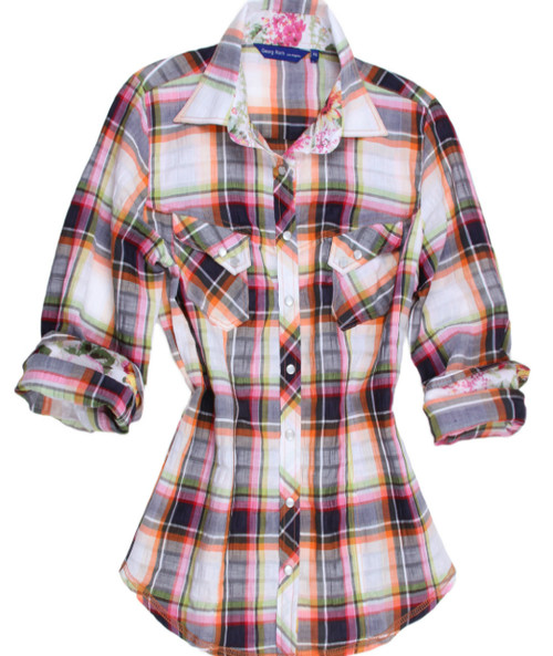 Luscious.......Yummy and Oh so very perfect for any occasion.   This lovely plaid is one of our imported European 100% cotton fabric.   A rainbow of colors in a unique blending of colors make it so easy to wear with so much.   You will notice the collar stand and rolled sleeves are a beautiful floral.     Two slanted pockets with two mother-of-pearl buttons, as are the buttons down the placket,add a beautiful custom look .  Double zig-zag stitching on the hem line finish off this great look to completion.   Day or night.....dress it with jewelry or a scarf or just as is this is a winner you won't want to miss out on  52% Linen / 45% Cotton / 2% Polyamite / 1% Elastan