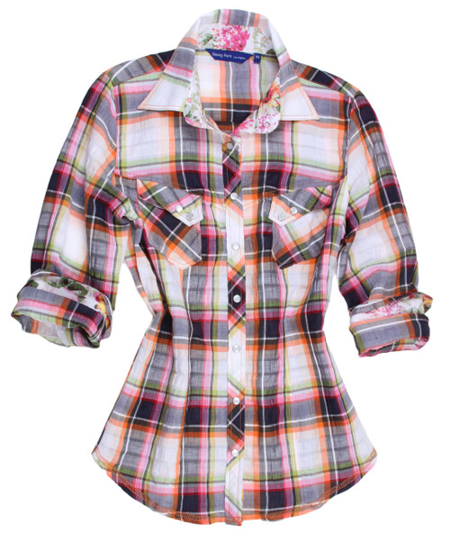 Women's blouse plus sizing  Luscious.......Yummy and Oh so very perfect for any occasion.   This lovely plaid is one of our imported European 100% cotton fabric.   A rainbow of colors in a unique blending of colors make it so easy to wear with so much.   You will notice the collar stand and rolled sleeves are a beautiful floral.     Two slanted pockets with two mother-of-pearl buttons, as are the buttons down the placket,add a beautiful custom look .  Double zig-zag stitching on the hem line finish off this great look to completion.   Day or night.....dress it with jewelry or a scarf or just as is this is a winner you won't want to miss out on  52% Linen / 45% Cotton / 2% Polyamite / 1% Elastan