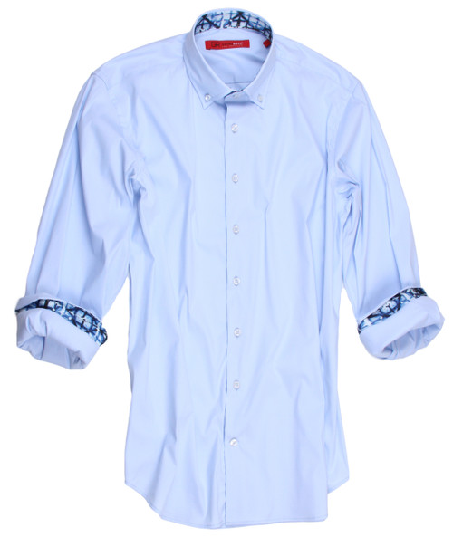 Big and Tall Men's Shirt Flattering......versatile.....and just plain awesome!  A must for the man that prides himself with fashion and simplicity.  Beautifully tailored, this light blue shirt will be yours to enjoy with so many pants or jeans you will want to wear it again and again. The collar stand and cuffs, when rolled are embellished with a small blue on blue print giving it a definite look of it's own.  For a business meeting or special occasion, a party or just going out for the day you find it a look of perfection and style.  Treat yourself!! You deserve it!!  You will feel your best and love every moment.  Imported European Fabric 75% Cotton / 21% Polyamid / 4% Elastane  Super Stretch