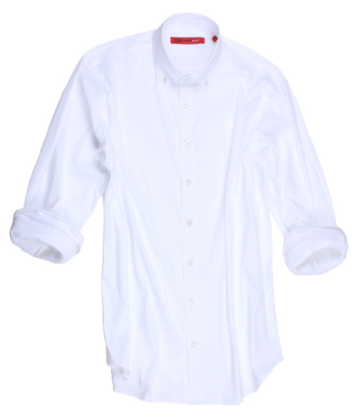"Big and Tall Casual Men's Shirt Hey there...........you with your eye on fashion.  For every man that wants that perfect white shirt, you just found it!.   It will be your ""go to"" for any and all occasions.  Day or evening, any occasion you can never go wrong.    The button down collar adds to this very handsome, dapper and collegiate look.  It is perfect with any trouser or jean.   Our imported European fabric has just enough of a stretch to make it nothing short of comfortable.   You will absolutely love the compliments you get with this very ""clean cut"" style. 75% Cotton / 21%Polyamid / 4% Elastane Super Stretch"