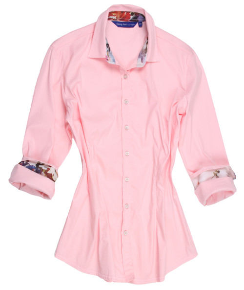 "Women's Blouse in Plus Sizes Pretty in Pink and gorgeous in a Georg Roth shirt!  So delicate and feminine you can't help but love the way you look in our ""Tammy"".  The companion print on the collar stand and cuffs adds originality and embellishes ""Tammy"" to a tee.  This is definitely simplicity at it's finest and is great with so many pants or jeans for anytime of day or evening.  Looks great with jewelry or a favorite scarf to dress it up.  Treat yourself to this  dreamy look............you will be happy you did. 75% Cotton / 21%Polyamid / 4% Elastane Super Stretch"