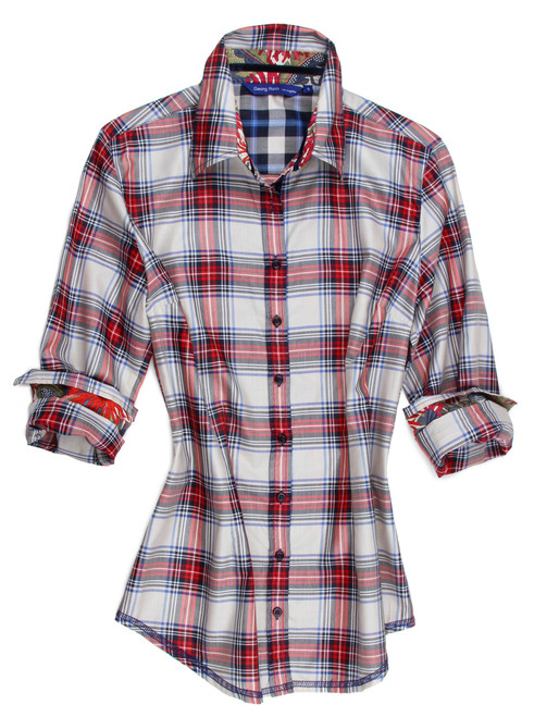 "Meet our ""Rachelle""........... ""Rachelle"" boasts of a stunning, cool and crisp Red, White and Blue plaid.  The companion fabrics on the collar and sleeves embellish this shirt beautifully and add that custom elegant touch to this already great look!   You will love this wonderful imported European fabric.  Comfortable to wear and completely washable.  The hem line is finished off in a double zig-zag stitch completing this very special look.  Great with any jeans and fun to dress up with a scarf or jewelry.   57% Cotton 43% Polyester"