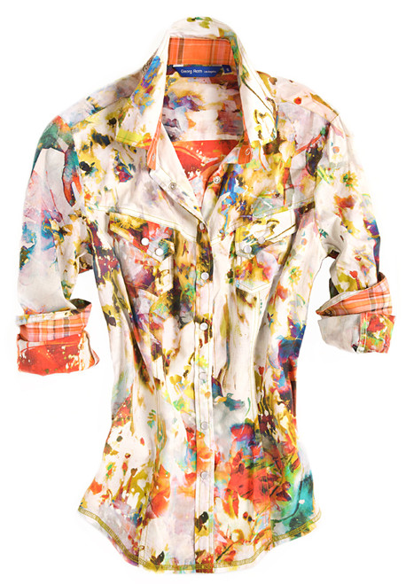 Looking fabulous is easy with our Dana blouse. The charming Liberty of London bright multicolor fantasy floral print is detailed with an orange plaid inside the collar & cuffs. Finishing touches of off-white sequins on the outer collar stand. All seams are done to perfection with contrast stitching in yellow. Completed by 2 diagonal flap pockets with snap closure.    100% Cotton