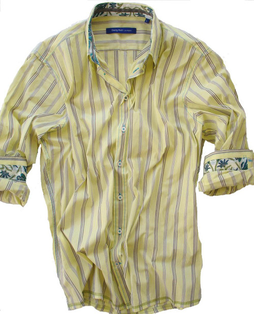 Great yellow striped shirt with a beautiful Liberty of London contrast in cuff and collar. Very comfortable stretching fabric. 68% Cotton / 28% PA / 4% EA
