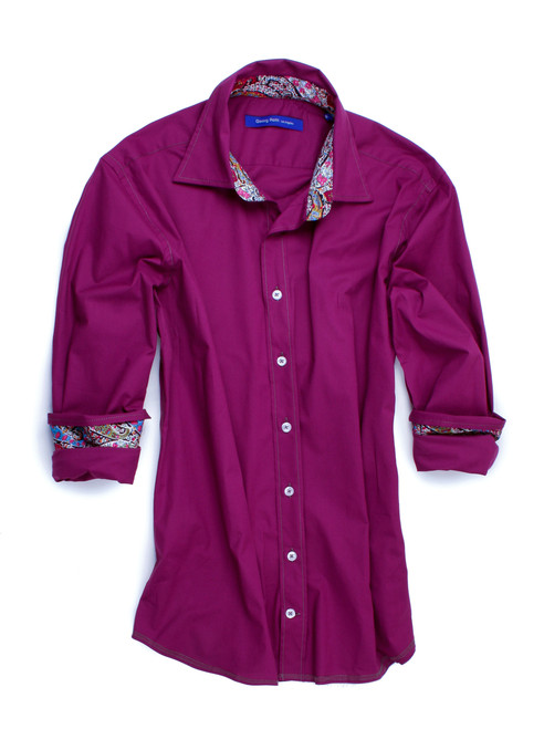 This shirt is an exceptional addition to any menswear wardrobe.  The so soft and so comfy long sleeve stretch shirt in dark magenta is contrasted with a Liberty of London multicolor fantasy print inside the collar stand and cuffs.